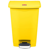 Rubbermaid 1883575 Slim Jim Resin Yellow Front Step-On Trash Can - 13 Gallon