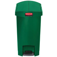 Rubbermaid 1883583 Slim Jim Resin Green End Step-On Trash Can with Rigid Plastic Liner - 8 Gallon