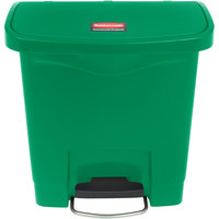 Rubbermaid 1883581 Slim Jim Resin Green Front Step-On Trash Can - 4 Gallon