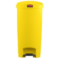 Rubbermaid 1883580 Slim Jim Resin Yellow End Step-On Trash Can with Rigid Plastic Liner - 24 Gallon