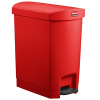 Rubbermaid 1883565 Slim Jim Resin Red End Step-On Trash Can with Rigid Plastic Liner - 32 Qt. / 8 Gallon