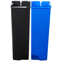 Rubbermaid 1902008 Slim Jim Black and Blue Dual Waste and Recycling Plastic Liner Set for 13 Gallon Stainless Steel Front Step-On Trash Can