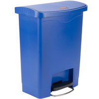 Rubbermaid 1883591 Slim Jim Resin Blue Front Step-On Trash Can - 32 Qt. / 8 Gallon