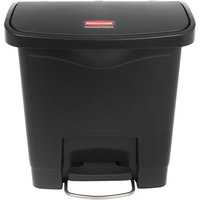 Rubbermaid 1883608 Slim Jim Resin Black Front Step-On Trash Can - 16 Qt. / 4 Gallon
