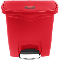 Rubbermaid 1883563 Slim Jim Resin Red Front Step-On Trash Can - 16 Qt. / 4 Gallon