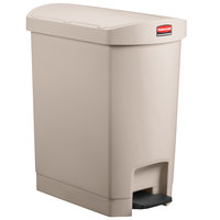 Rubbermaid 1883457 Slim Jim Resin Beige End Step-On Trash Can with Rigid Plastic Liner - 32 Qt. / 8 Gallon