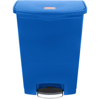 Rubbermaid 1883597 Slim Jim Resin Blue Front Step-On Trash Can with Built-In Wheels - 96 Qt. / 24 Gallon