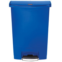Rubbermaid 1883597 Slim Jim Resin Blue Front Step-On Trash Can with Built-In Wheels - 24 Gallon
