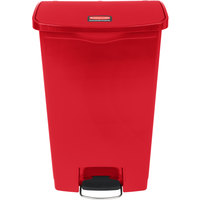 Rubbermaid 1883568 Slim Jim Resin Red Front Step-On Trash Can - 72 Qt. / 18 Gallon