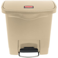 Rubbermaid 1883455 Slim Jim Resin Beige Front Step-On Trash Can - 4 Gallon