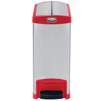 Rubbermaid 1901989 Slim Jim Stainless Steel Red Accent End Step-On Trash Can with Single Rigid Plastic Liner - 8 Gallon