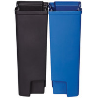 Rubbermaid 1883629 Slim Jim Black and Blue Dual Waste and Recycling Plastic Liner Set for 24 Gallon Resin Front Step-On Trash Can