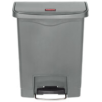 Rubbermaid 1883600 Slim Jim Resin Gray Front Step-On Trash Can - 8 Gallon
