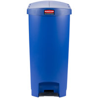 Rubbermaid 1883596 Slim Jim Resin Blue End Step-On Trash Can with Rigid Plastic Liner - 18 Gallon