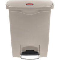 Rubbermaid 1883456 Slim Jim Resin Beige Front Step-On Trash Can - 32 Qt. / 8 Gallon