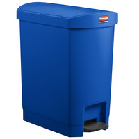 Rubbermaid 1883592 Slim Jim Resin Blue End Step-On Trash Can with Rigid Plastic Liner - 32 Qt. / 8 Gallon
