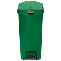 Rubbermaid 1883587 Slim Jim Resin Green End Step-On Trash Can with Rigid Plastic Liner - 18 Gallon