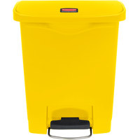Rubbermaid 1883573 Slim Jim Resin Yellow Front Step-On Trash Can - 8 Gallon