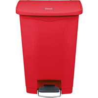 Rubbermaid 1883566 Slim Jim Resin Red Front Step-On Trash Can - 13 Gallon