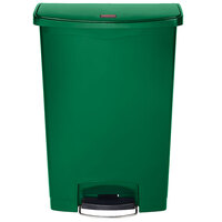 Rubbermaid 1883588 Slim Jim Resin Green Front Step-On Trash Can with Built-In Wheels - 24 Gallon