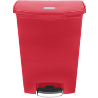 Rubbermaid 1883570 Slim Jim Resin Red Front Step-On Trash Can with Built-In Wheels - 96 Qt. / 24 Gallon