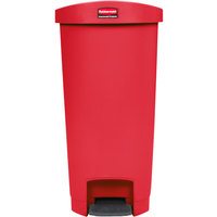 Rubbermaid 1883567 Slim Jim Resin Red End Step-On Trash Can with Rigid Plastic Liner - 13 Gallon