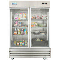 "Avantco CFD-2RR-G 54"" Two Section Glass Door Reach-In Refrigerator with LED Lighting - 46.5 Cu. Ft."