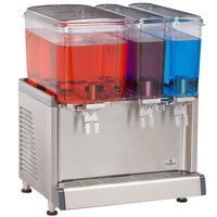 Crathco CS-3D-16S Triple Bowl Premix Cold Beverage Dispenser with (1) 4.75 Gallon Hopper, (2) 2.4 Gallon Hoppers, and Spray Function