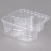 Fabri-Kal GS6-3W Greenware 3-Compartment Clear PLA Compostable Container - 50/Pack