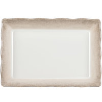 Jazz 13 3/4 inch x 9 1/2 inch Rectangular Melamine Tray with Scalloped Crackle-Finished Border