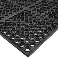 Cactus Mat 3525-C4 VIP TuffDek 3' x 2' Black Heavy-Duty Rubber Anti-Fatigue Floor Mat - 7/8 inch Thick