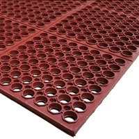 Cactus Mat 3525-R3 VIP TuffDek 3' x 3' Red Heavy-Duty Grease-Resistant Rubber Anti-Fatigue Floor Mat - 7/8 inch Thick