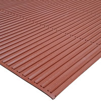 Cactus Mat 1631R-T3 Ni-Rib 3' x 60' Terra Cotta Solid Nitrile Rubber Runner Mat Roll - 1/4 inch Thick