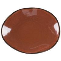 Tuxton GAR-652 TuxTrendz Artisan Red Rock 9 3/4 inch x 12 inch Ellipse China Plate - 12/Case