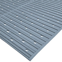 Cactus Mat 1631R-E3V Ni-Rib 3' x 60' Gray Perforated Nitrile Rubber Runner Mat Roll - 1/4 inch Thick