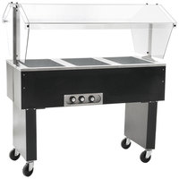 Eagle Group BPDHT3 Deluxe Service Mates Three Pan Open Well Portable Hot Food Buffet Table with Open Base - 240V, 3 Phase