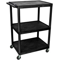 Luxor LP48E-B 3 Shelf A/V Cart 32 inch x 24 inch x 48 1/4 inch