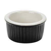 Greenware by Tuxton B4X-0352 3.5 oz. Black / Ivory (American White) Fluted China Ramekin   - 12/Pack