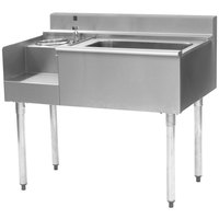 Eagle Group BM62-18L-7 1800 Series 62 inch Underbar Left Blender Module, Center Ice Bin, Right Drainboard, and Cold Plate