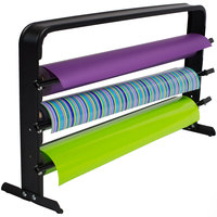 Bulman T324-40 40 inch Horizontal Black Countertop 3 Roll Paper Cutter Rack