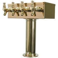 Micro Matic D7744PVD PVD Brass 4 Tap T Style Tower - 3 inch Column