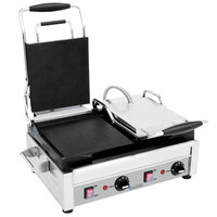 Eurodib SFE02360 Double Panini Grill with Smooth Plates - 17 inch x 9 1/4 inch Cooking Surface - 220V, 2900W