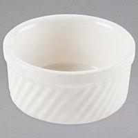 Tuxton BEX-1204 DuraTux 12 oz. Ivory (American White) Swirl China Souffle / Ramekin - 24/Case