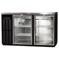 Continental Refrigerator BB59SNGD 59 inch Black Shallow Depth Glass Door Back Bar Refrigerator