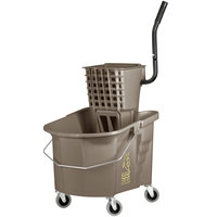 Continental 335-312BZ 35 Qt. Bronze Splash Guard Mop Bucket with Side-Press Wringer