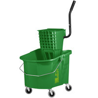 Continental 335-312GN 35 Qt. Green Splash Guard Mop Bucket with Side-Press Wringer