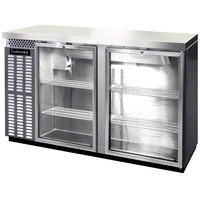 Continental Refrigerator BBC59S-SS-GD 59 inch Stainless Steel Shallow Depth Glass Door Back Bar Refrigerator