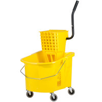 Continental 335-312YW 35 Qt. Yellow Splash Guard Mop Bucket with Side-Press Wringer