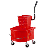 Continental 226-312RD 26 Qt. Red Splash Guard Mop Bucket with Side-Press Wringer