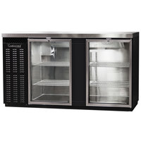 Continental Refrigerator BB69SNGD 69 inch Black Shallow Depth Glass Door Back Bar Refrigerator